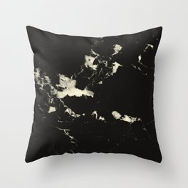 Black Marble and Blush Yellow #1 #decor #art #society6 Throw Pillow