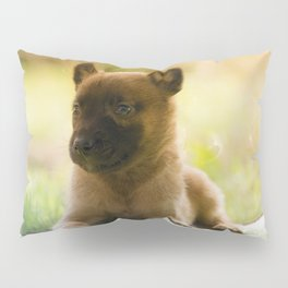 Malinois puppies in the soap blowing game Pillow Sham