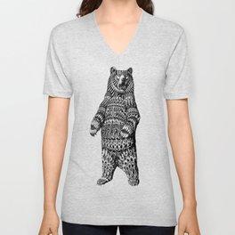 Ornate Grizzly Bear Unisex V-Neck