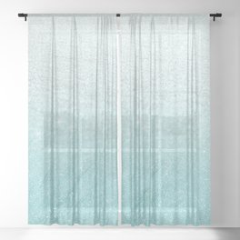 Modern chic teal pastel gradient faux glitter Sheer Curtain