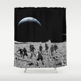 Moon Rocks For Goal Posts Shower Curtain