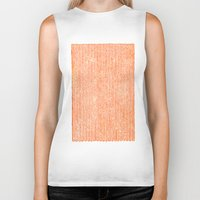 party Biker Tanks featuring Stockinette Orange by Elisa Sandoval