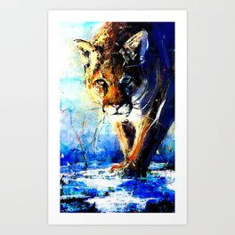 portrait of a creepin' cougar, in orange and blue Art Print