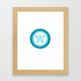 blue letter W Framed Art Print