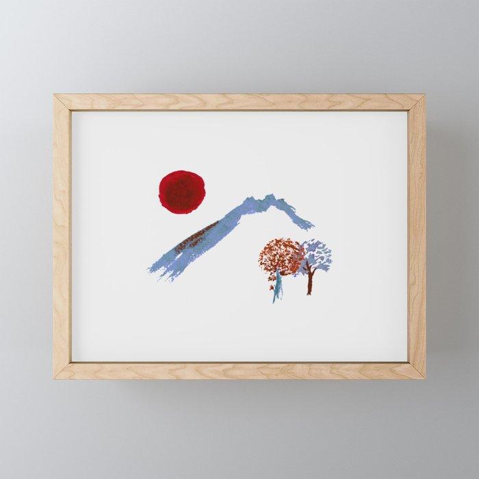 Mountain trees watercolor Framed Mini Art Print