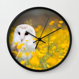 Little Owlet in Flowers (Color) Wall Clock