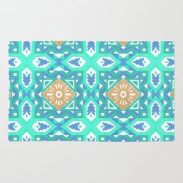 Abstract aqua blue watercolor faux gold glitter motif Rug
