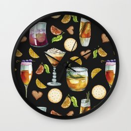 Cocktail and Biscuit Pattern Black Background Wall Clock