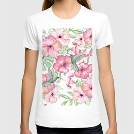 Hibiscus + Hummingbirds Pink T-shirt