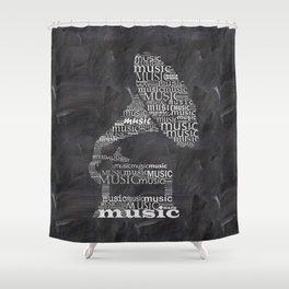 Gramophone on chalkboard Shower Curtain