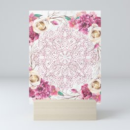 Rose Gold Mandala Garden on Marble Mini Art Print