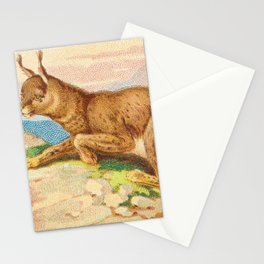 Lynx from the Quadrupeds series for A&G 1890 // Colorful Animal Painting Detailed Dots Stationery Cards