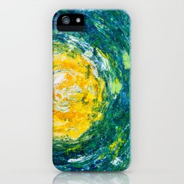 """""""Enthusiasm"""" abstract art in yellow & green iPhone Case"""