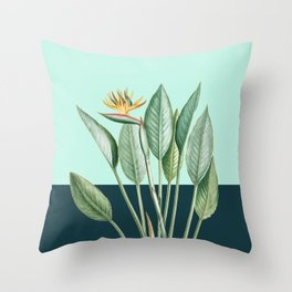 Birds of Paradise & Leaves with Gold Throw Pillow