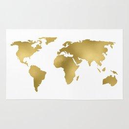 Gold Foil Map - Metallic Globe Design Rug