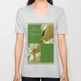 Pale Yellow Poinsettia 1 Merry Christmas Q5F1 Unisex V-Neck