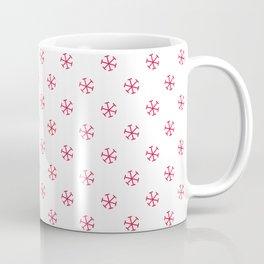 Crimson Red on White Snowflakes Coffee Mug