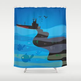 go humans! Shower Curtain