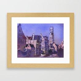 Belfry of Bruges  medieval bell tower in the centre of Bruges, Belgium.  Watercolor painting of Bruges. Framed Art Print