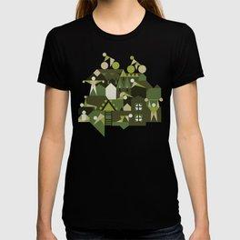 Indoors & outdoors (green camo) T-shirt