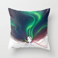 northern lights Throw Pillows featuring Northern lights by Tiphs