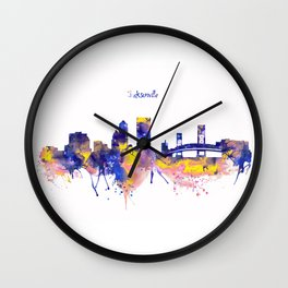 Jacksonville Skyline Silhouette Wall Clock