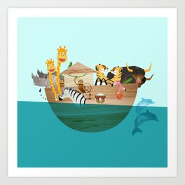 Noahs Ark with Animals– Illustration for the childrens room of girls and boys Art Print
