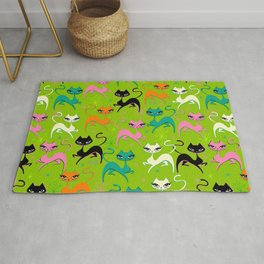 Prancing Kittens on Lime Rug