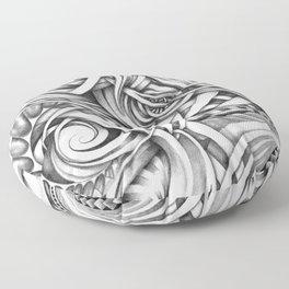 Escher Like Abstract Hand Drawn Graphite Gray Depth Floor Pillow