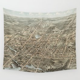 Vintage Pictorial Map of Brockton MA (1878) Wall Tapestry