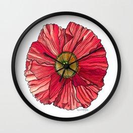 Red Poppy Wall Clock