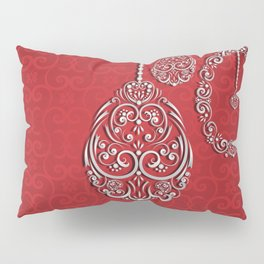 Silver lace hanging eggs on vibrant red background Pillow Sham