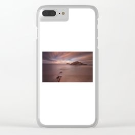 Sunset on Mumbles lighthouse Clear iPhone Case