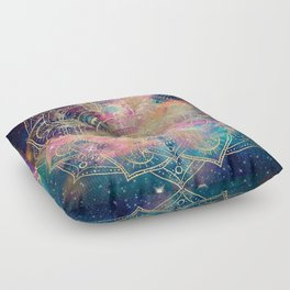 Stylish Gold mandala watercolor & Nebula Colorful Design Floor Pillow