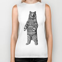 flag Biker Tanks featuring Ornate Grizzly Bear by BIOWORKZ