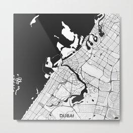 Dubai City Map Gray Metal Print