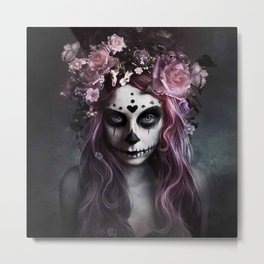Zombie face tattoo girl Metal Print