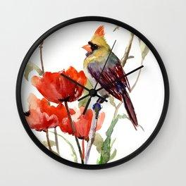 Cardinal And Poppy Flowers Wall Clock