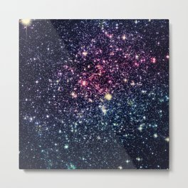 Galaxy Stars : Subtle Purple Mauve Pink Teal Metal Print