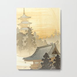 Pagoda and rainbow Metal Print