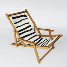 Tribal Stripes Black Earth on Ivory Cream Sling Chair
