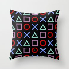 Gamer Pattern (color on black) Throw Pillow