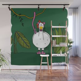 Eglantine la poule (the hen) dressed up as a pink panther Wall Mural