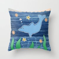 dolphin Throw Pillows featuring Dolphin by Danielle Waterworth