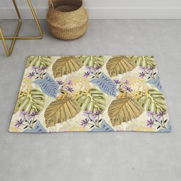 Tropical leaves and flowers Rug