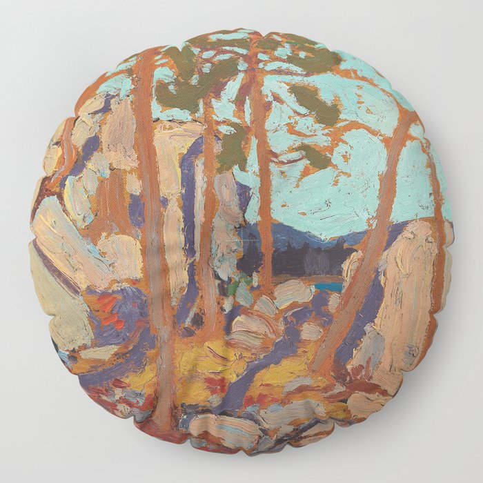 Tom Thomson - Pine Cleft Rocks - Canada, Canadian Oil Painting - Group of Seven Floor Pillow