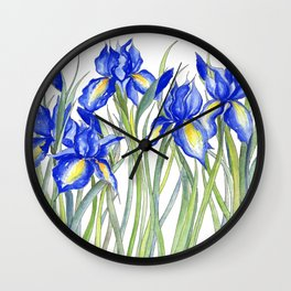 Blue Iris, Illustration Wall Clock