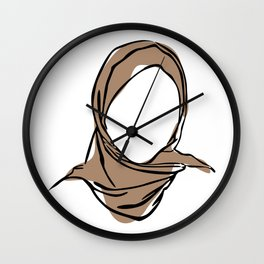 Hijab Woman 01, Single Line Art Colored Set Wall Clock
