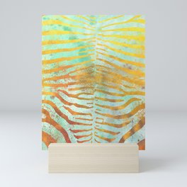 Zebra Stripes | Celadon & Gold | Watercolor Animal Print Art Mini Art Print