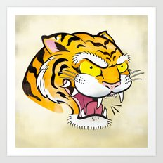 Tiger Tattoo Flash Art Print